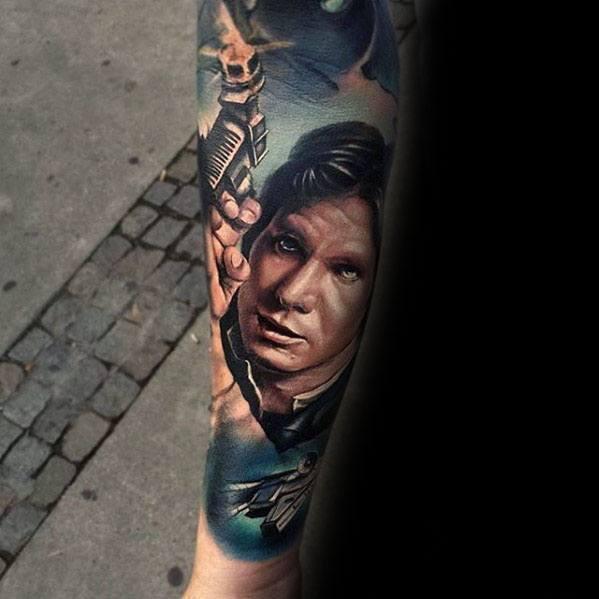 Guys Realistic 3d Han Solo Star Wars Tattoo Forearm Sleeve Deisgns