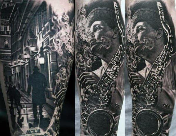 Guys Realistic 3d Saxophone Player Leg Sleeve Tattoo