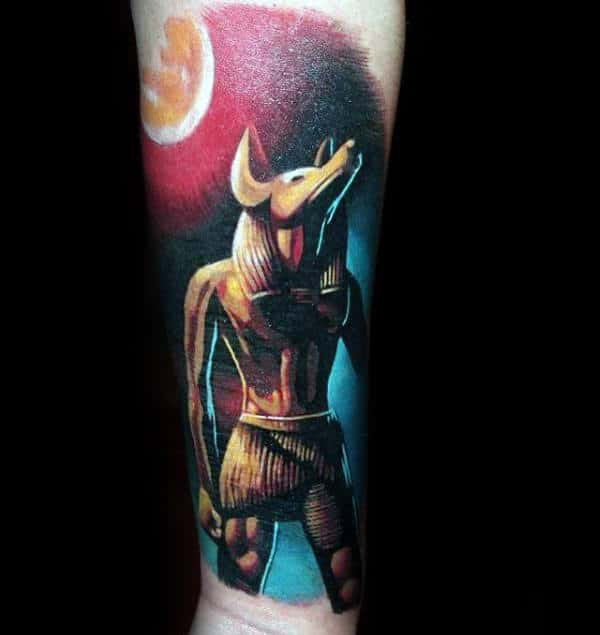 Guys Realistic Anubis Watercolor Inner Forearm Tattoos