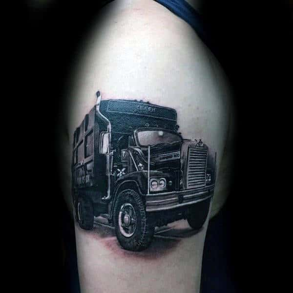 Guys Realistic Big Truck Upper Arm Tattoo With 3d Design