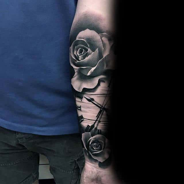 Guys Realistic Black Rose With Clock Tattoo Designs