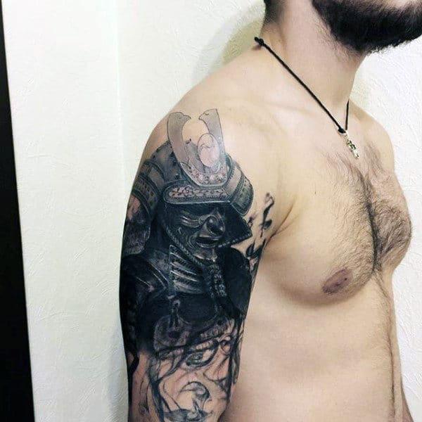 guys-realistic-black-word-samurai-mask-upper-arm-tattoo