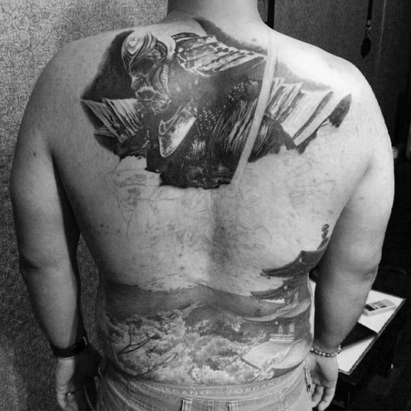 Guys Realistic Black Work Samurai Mask And Traditional Japanese Castle Full Back Tattoo