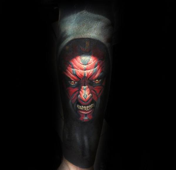 Guys Realistic Forearm Sleeve Darth Maul Tattoo Design Ideas