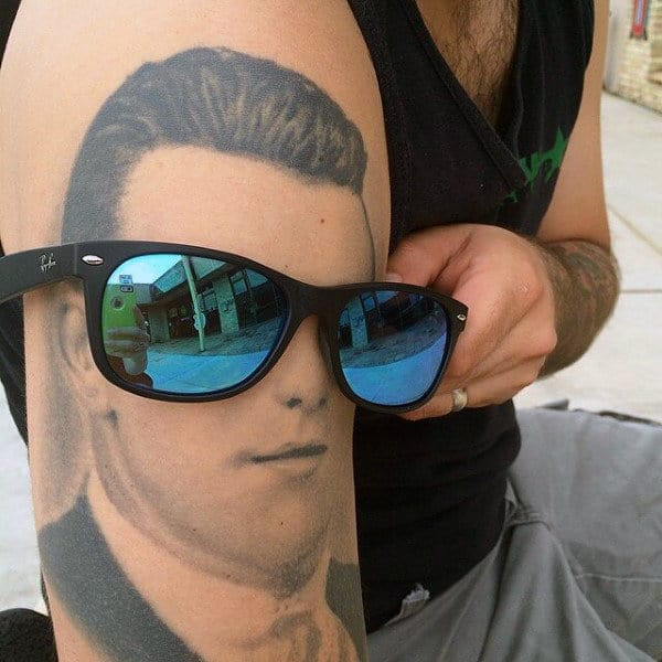 Guys Realistic Grandpa Portrait Tattoo On Arm