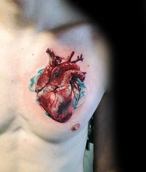 Guys Realistic Heart With Blue Ink Watercolor Design Chest Tattoo