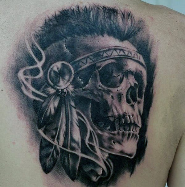 Guys Realistic Indian Skull Back Tattoo
