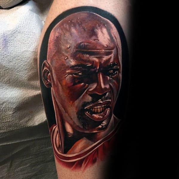 Guys Realistic Michael Jordan Portrait Tattoo On Side Of Leg