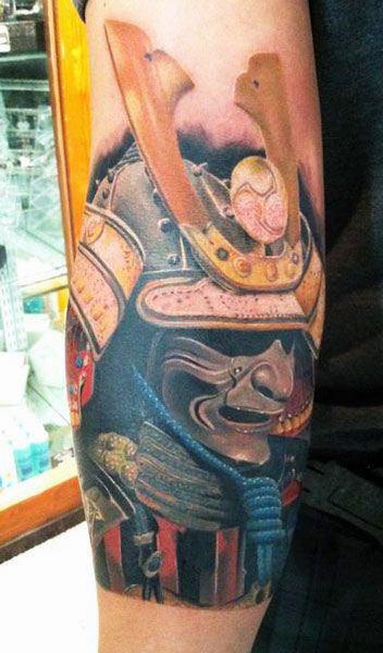 Guys Realistic Modern Samurai Mask Forearm Tattoo
