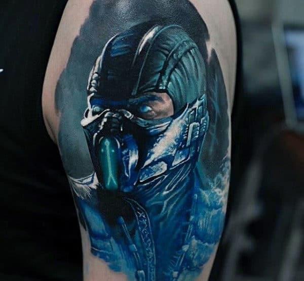 Guys Realistic Mortal Kombat Sub Zero Upper Arm Tattoos