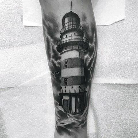 Guys Realistic Nautical Lighthouse Shaded Ink Tattoos