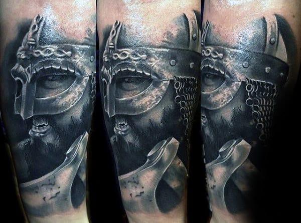 Guys Realistic Odin Axe Tattoo Design On Arm