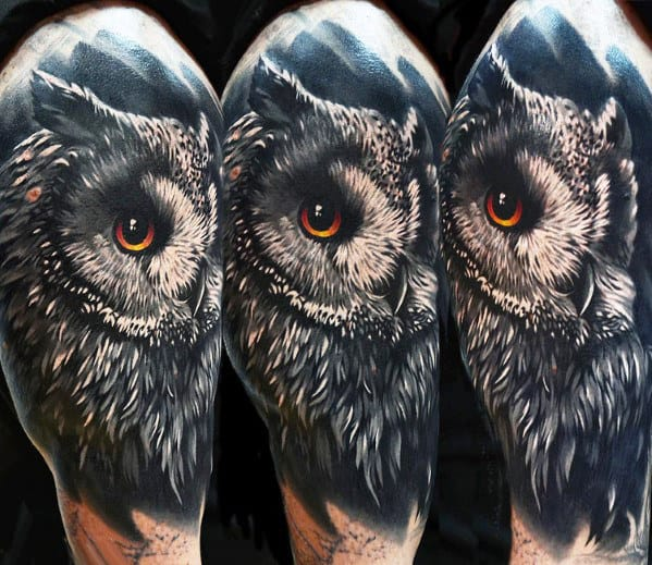 Guys Realistic Owl Tattoo Design On Arm