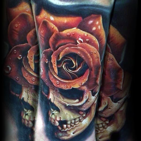 Guys Realistic Rose With Skull Forearm Tattoos