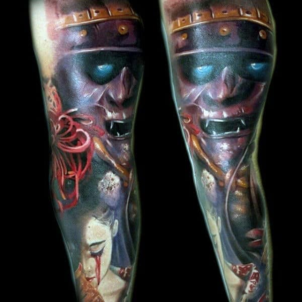 Guys Realistic Samurai Mask And Woman Crying Blood Tattoo Full Sleeve