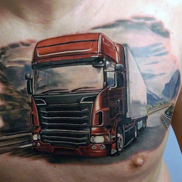 Guys Realistic Semi Truck Chest Tattoos