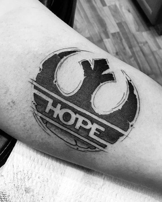 Guys Rebel Alliance Hope Inner Arm Bicep Tattoo Deisgns