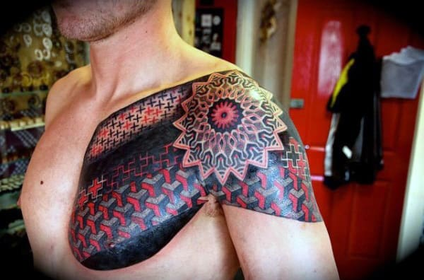 Guys Red Ink Pattern Shoulder Tattoo