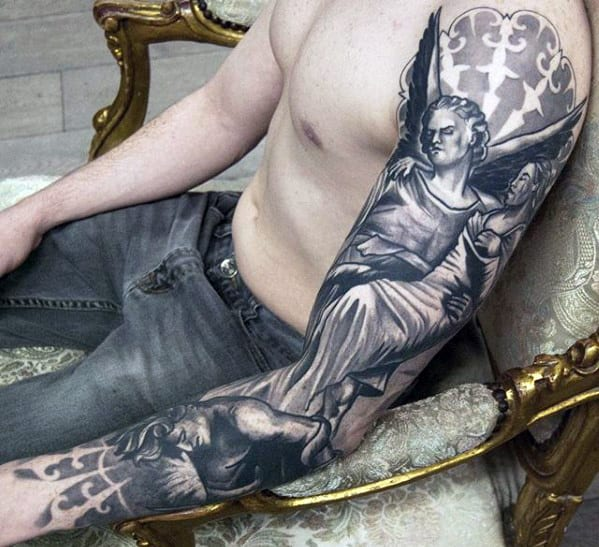 Guys Religious Angel 3d Black And Grey Sleeve Tattoo