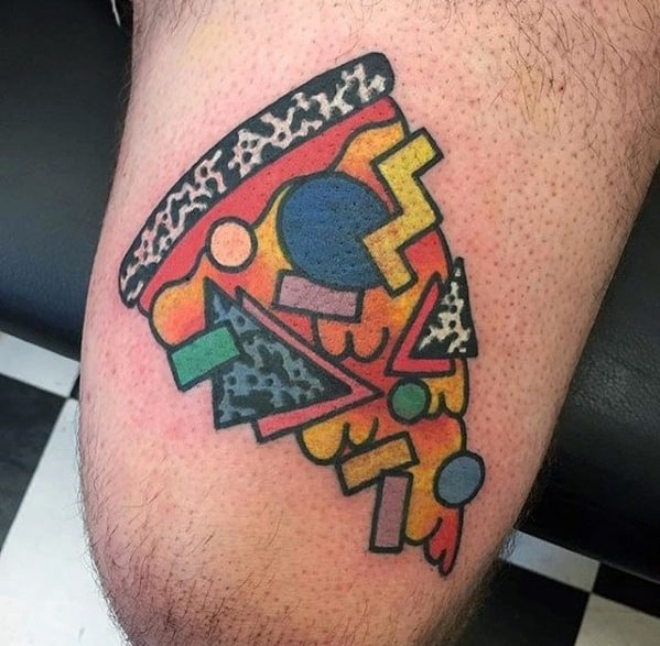 Guys Retro Colorful Pizza Tattoo Deisgns On Thigh