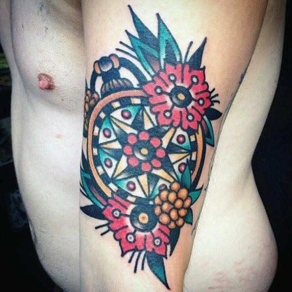 Guys Retro Traditional Compass Outer Arm Tattoo Designs