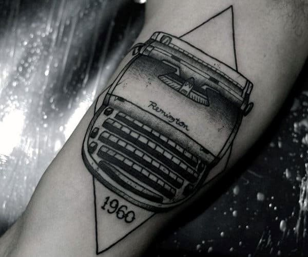Guys Retro Typewriter Bicep Tattoos