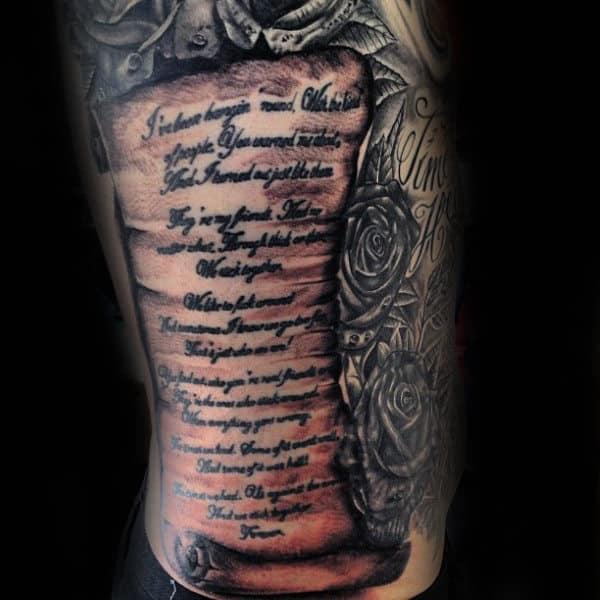 Guys Rib Cage Side Full Scroll Tattoo Designs
