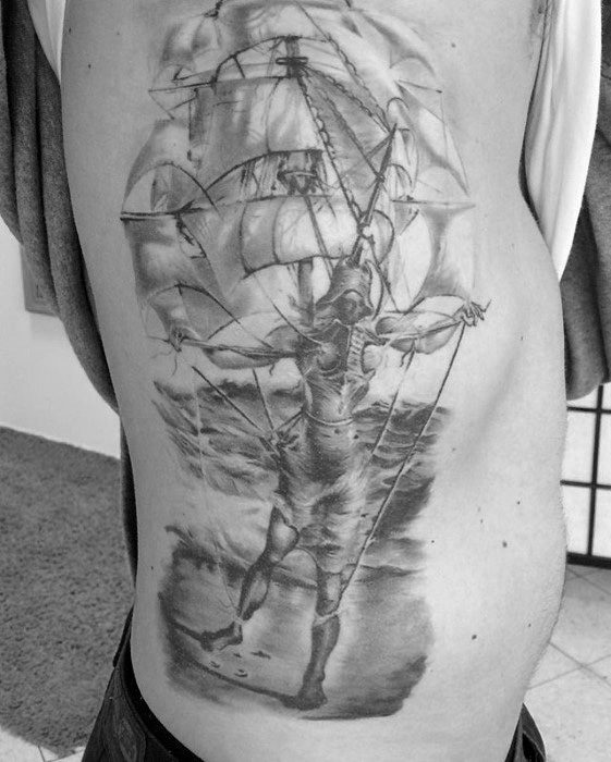 Guys Rib Cage Side Of Body Tattoo Ideas Salvador Dali Designs