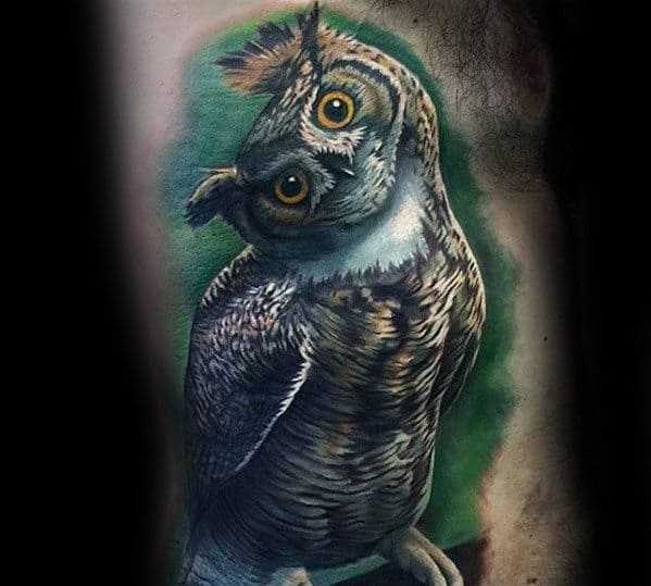 Guys Rib Cage Side Realistic Owl Tattoo Designs