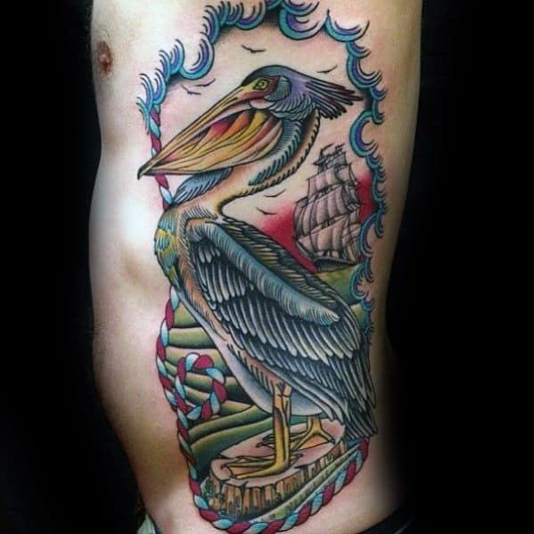 Guys Rib Cage Side Tattoos With Pelican Design