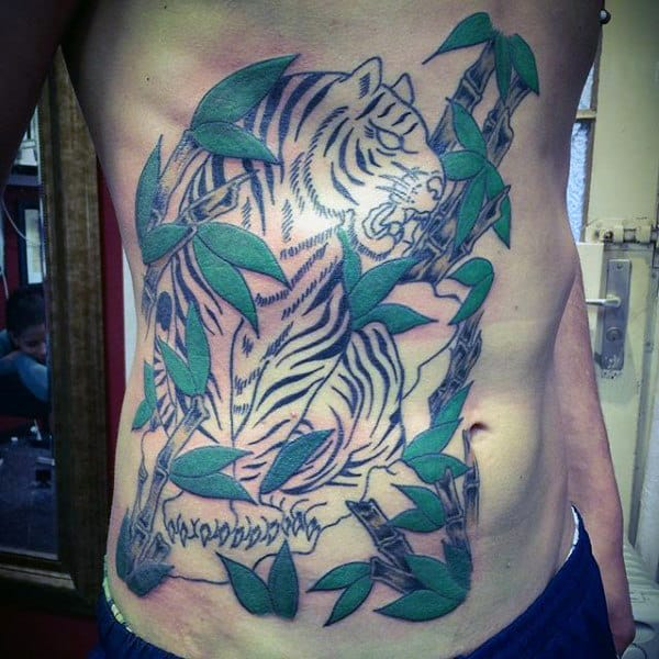 Guys Rib Cage Side Tiger With Green Bamboo Tattoo