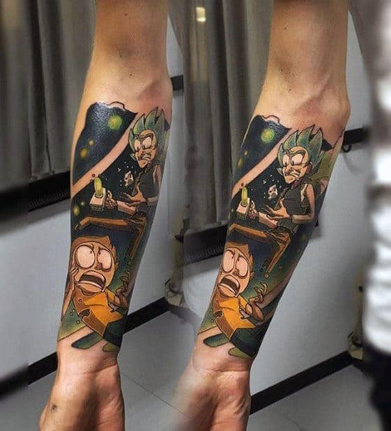 Guys Rick And Morty Tattoo Forearm Sleeve