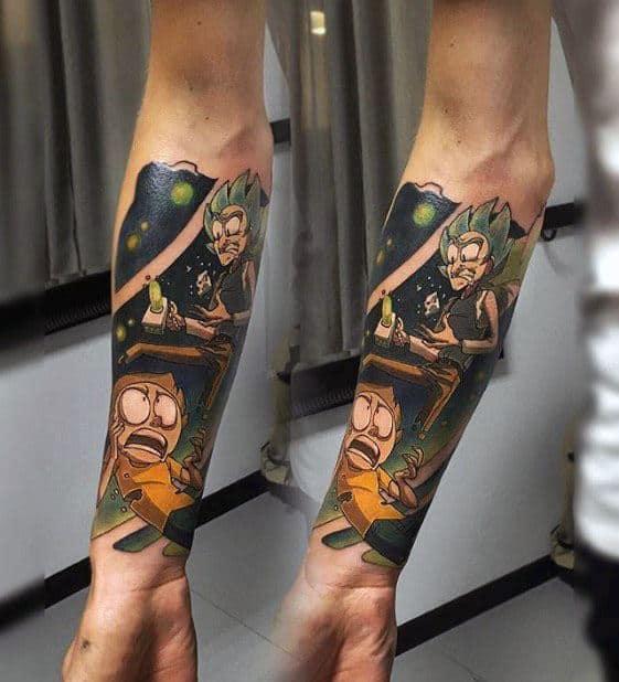 Guys Rick And Morty Tattoo Forearm Sleeve