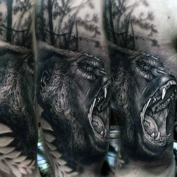 Guys Roaring Gorilla In The Forest Tattoo On Arm