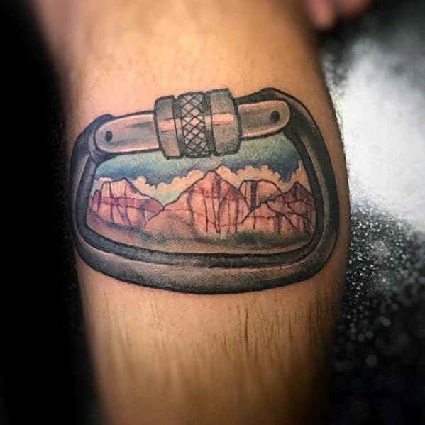 Guys Rock Climbing Leg Calf Tattoo