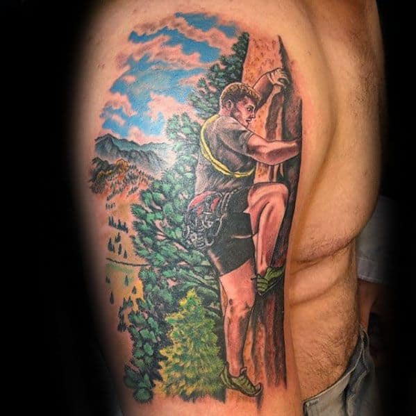 Guys Rock Climbing Tattoo Design Ideas On Arm
