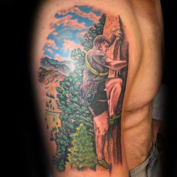 Guys Rock Climbing Tattoo Design Ideas On Arm
