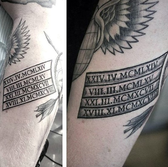 Guys Roman Numeral Banner Tattoo On Forearm