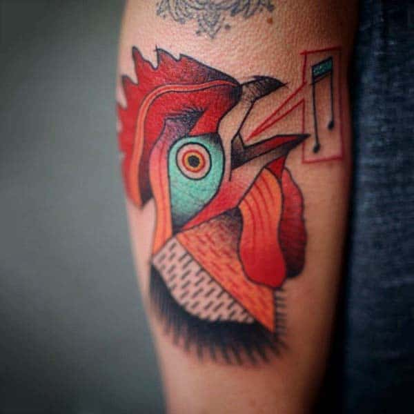 Guys Rooster Tattoo Creative Deisgn On Leg