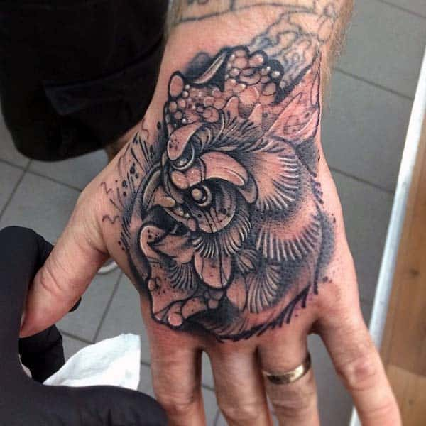 Guys Rooster Tattoo For Hand In Black