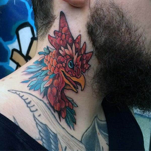 Guys Rooster Tattoo In Neo Traditional Style On Neck