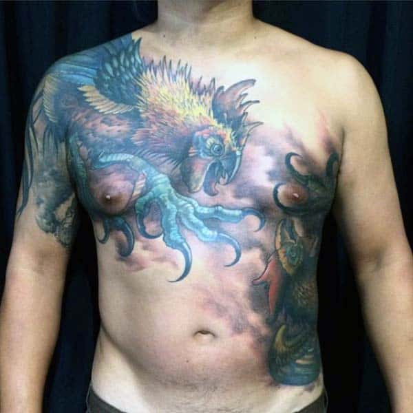 Guys Rooster Tattoo Saturated Color Chest Piece