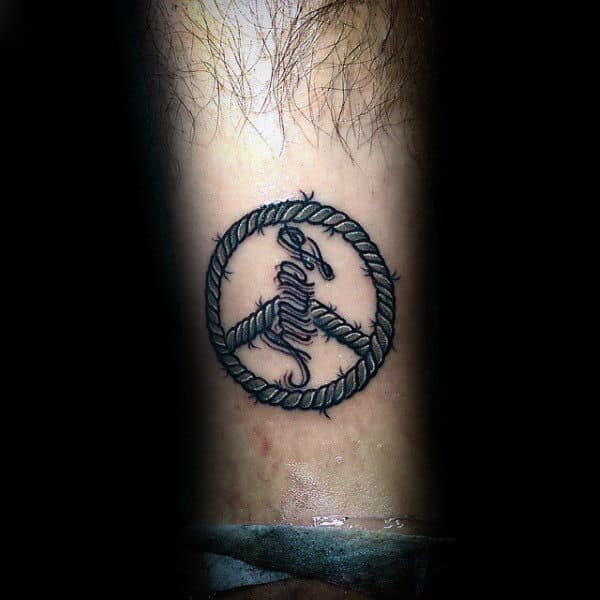 Guys Rope Peace Sign Forearm Tattoo