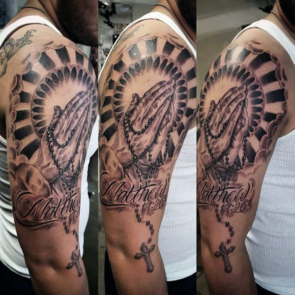 Guys Rosary Cross Tattoo Half Sleeve Design