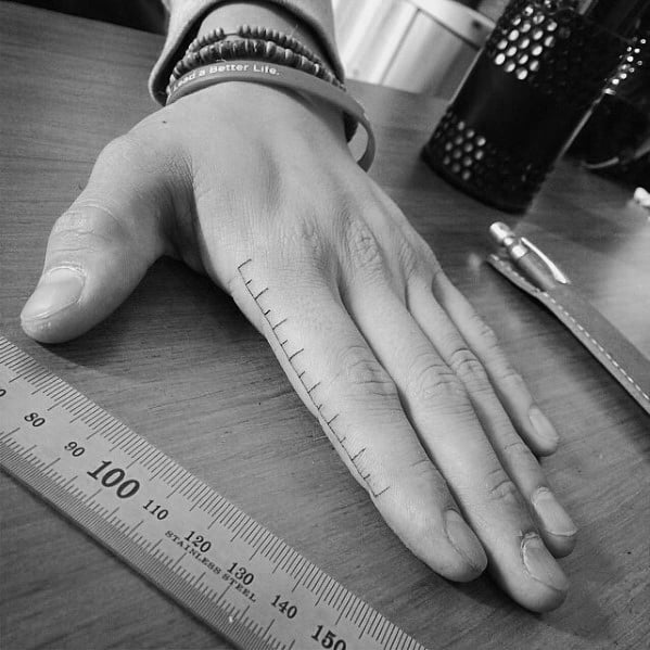 Guys Ruler Tattoos On Fingers