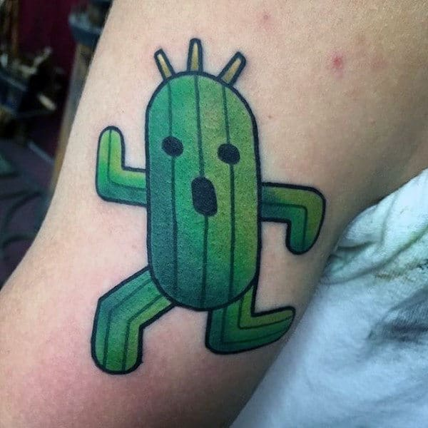 Guys Running Cactus Tattoo On Bicep