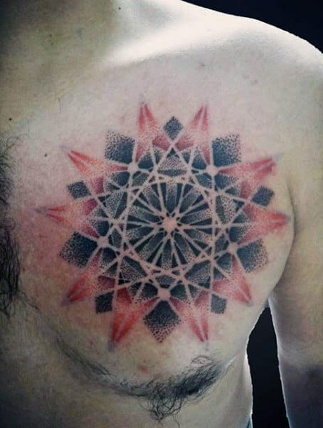Guys Sacred Geometry Geometric Lines Tattoo Chest Art