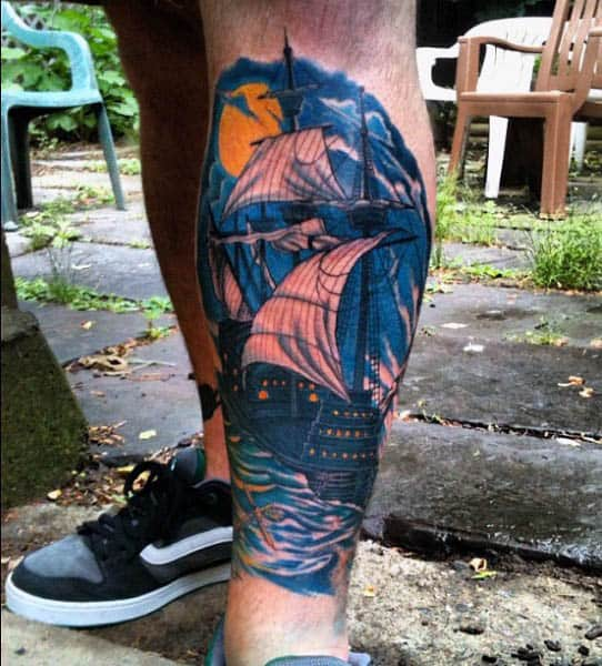 Guys Sailing Ship Tattoo Designs On Front Of Leg