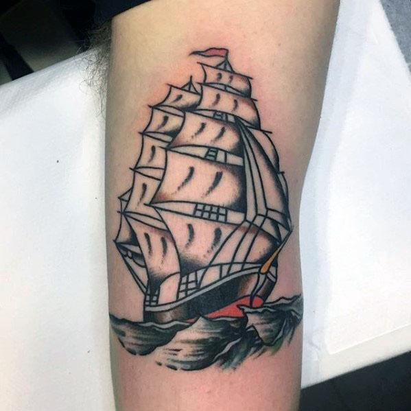 Guys Sailing Ship Tattoo Ideas Vintage Designs