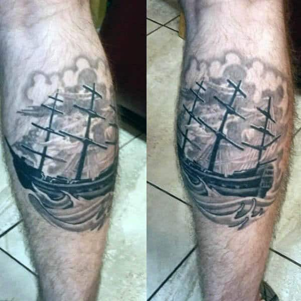 Guys Sailing Ship Tattoos Designs Leg Calf